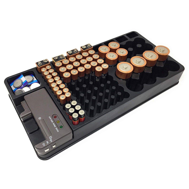 SJB support organisateur de stockage de batterie avec testeur-batterie Caddy malle de rangement boîte supports y compris vérificateur de batterie pour AAA