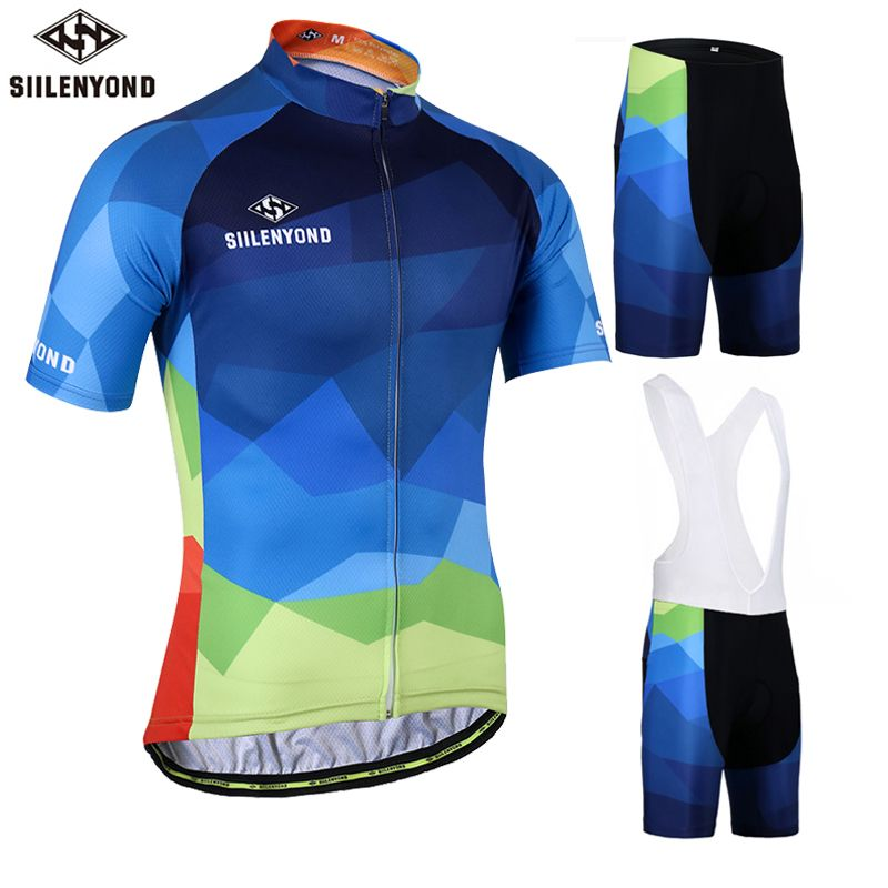 SIILENYOND Gareth 100% Polyester Summer Cycling Jersey Maillot Ropa Ciclismo Bicycle Sportswear Man's Mountain Bike Clothing Set