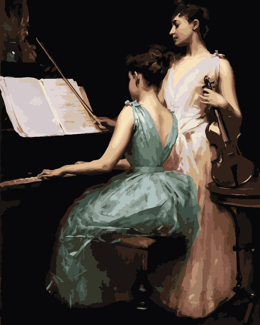 Frameless Picture Decoration Pictures Diy Painting By Numbers hand painted canvas oil paintings Talk about the piano woman