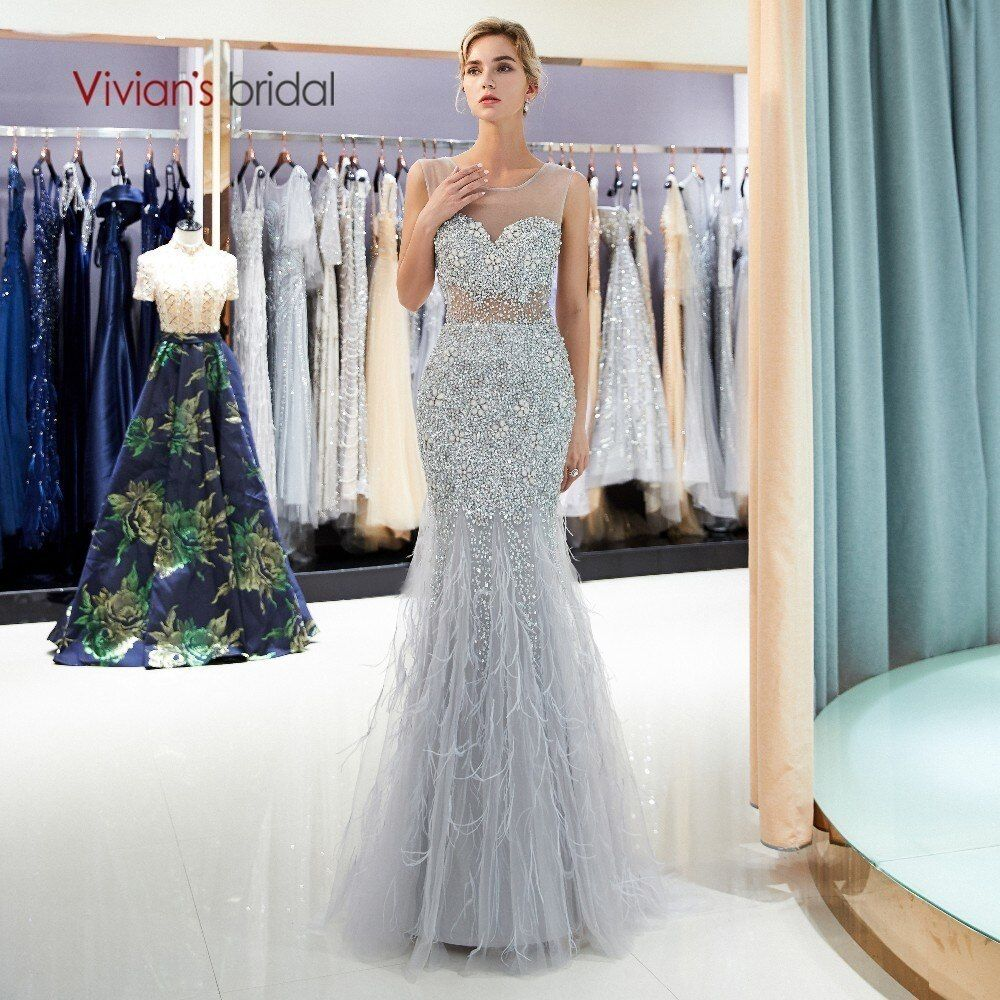 Vivian's Bridal Illusion Mesh Crop Top Gray Mermaid Evening Dress Beading Sequin Crystal Feather Sweep Train High-end Full Dress