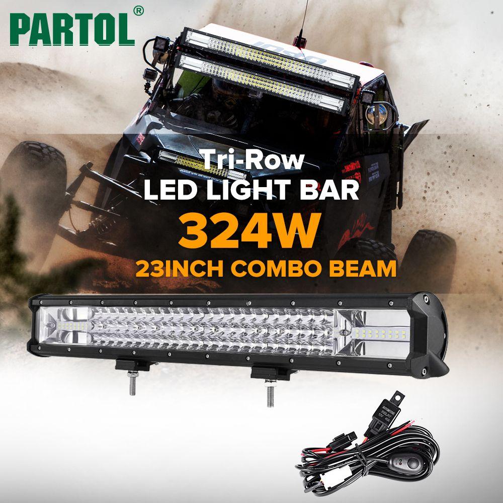Partol 23 324W Tri-Row LED Light Bar Combo Spot Flood Beam Offroad Work Light 4WD 4x4 LED Bar 6000K for Truck Camper Trailer