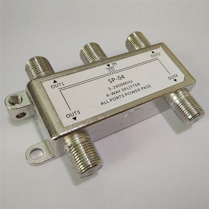 Heißer Verkauf 4 Weg 4 Kanal Satellite/Antenne/Kabel-tv Splitter Verteiler 5-2400 MHz F Typ großhandel Auf Lager Drop Shipping