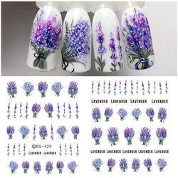 Lavender Flower Water Decals Nail Sticker Purple Blooming Flower Nail Art Decals Nail Art Transfer Sticker Water Slide 1 Sheet