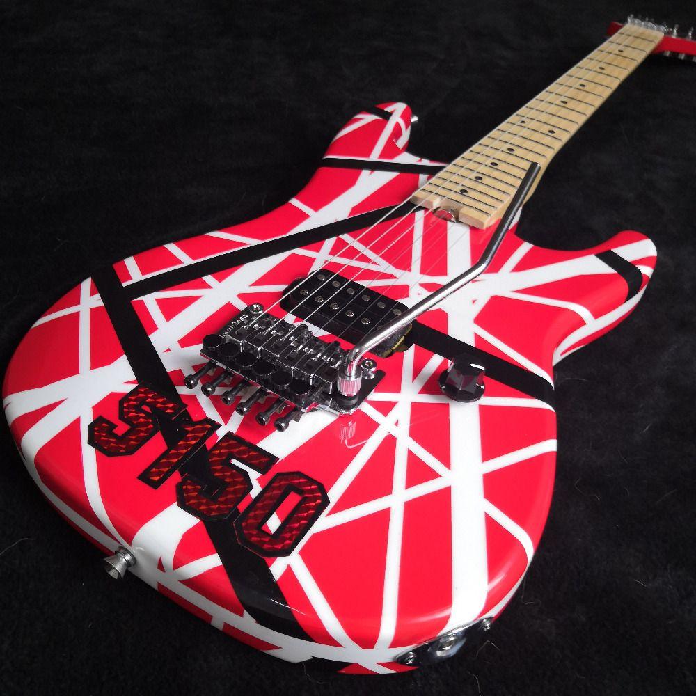 5150 gestreiften Serie Rot/Schwarz/Weiß, Ahorn griffbrett, floyd Rose Locking Tremol Wolfgang Eddie Van Halen stil gitarre