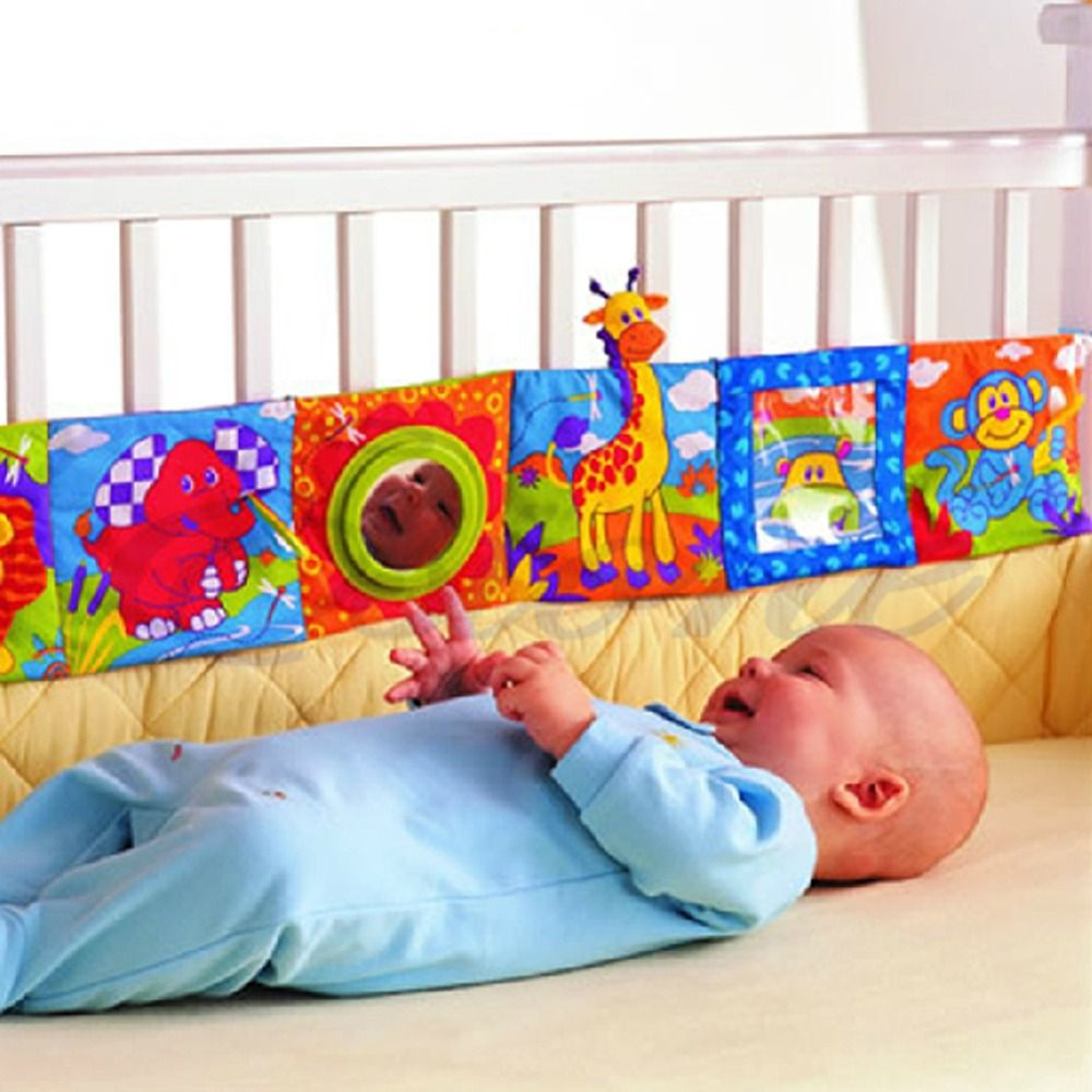Baby Toys Crib bumper Baby Cloth Book Rattles Knowledge Around Multi-Touch Colorful Bed Bumper for Kids toys 96cm x 14cm