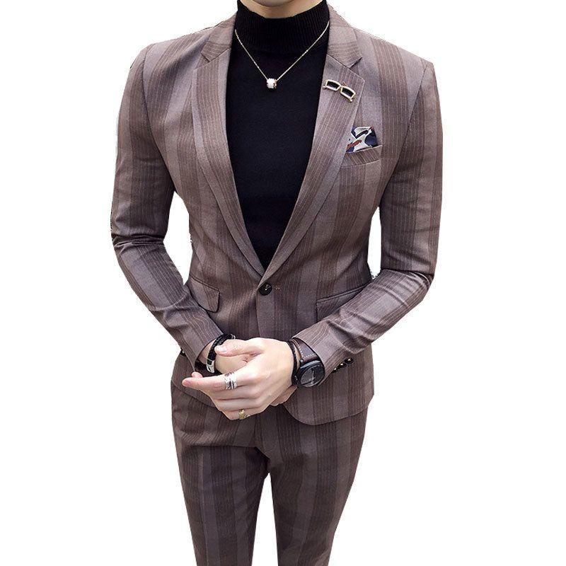 Mens Big Plaid Suit Ankle Length Costume Homme Mariage Cofee Blue Stripe Check Elegant Trajes De Hombre Novio Plaid Suit For Men