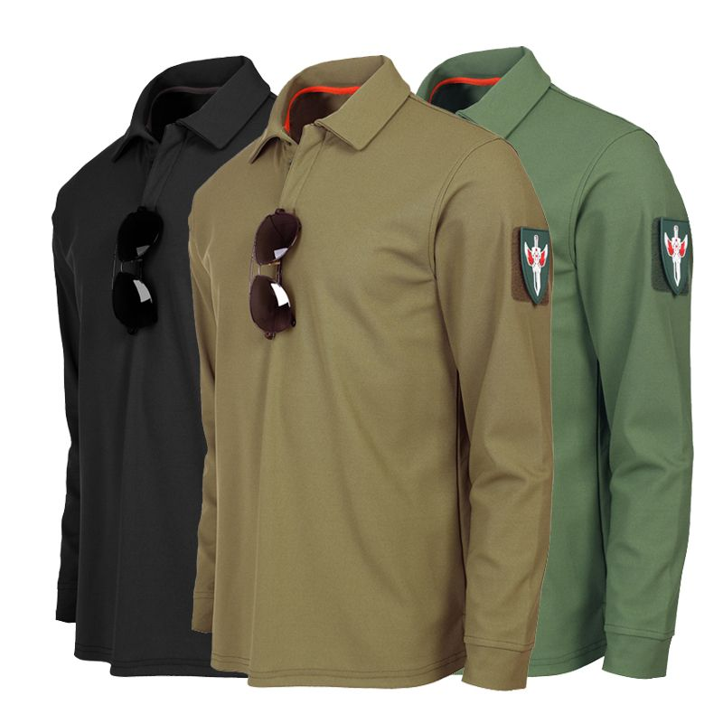 Spring Autumn Men's Lapel Long Sleeve Shirt Tops Male Outdoor Climbing Hiking Physical Training Breathable Combat Tactical Shirt