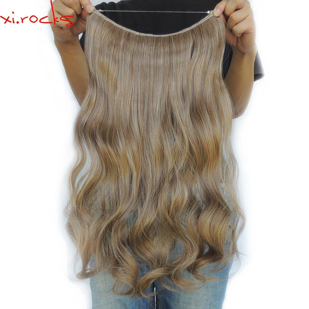 Xi.rocks 25 Colors Halo Elastic Rope Hair Extension 24inches Synthetic Weave Around the Head or Curly Sew in Weave Double Weft