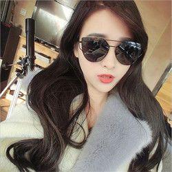 Mode Merek Cat Eye Sunglasses Wanita Twin-Balok Matahari kacamata Perempuan Retro Coating Cermin Kacamata Lensa Panel Datar