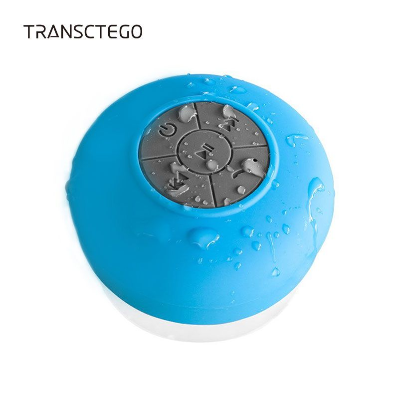 TRANSCTEGO Bluetooth Speaker Waterproof Portable Wireless Shower Bath Mini Subwoofer Handsfree Built-in Mic Buttons Suction Cup
