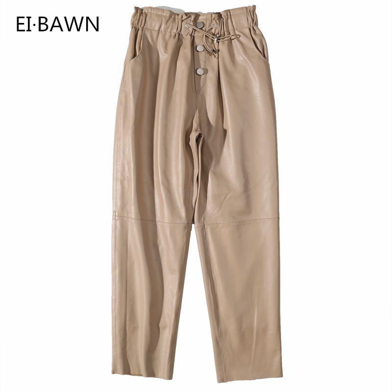 Leder Hosen Frauen Streetwear Schwarz Weiß Leder Hosen Fleece Hosen Frauen Patent Echtem Leder Hosen Winter Hosen Frauen