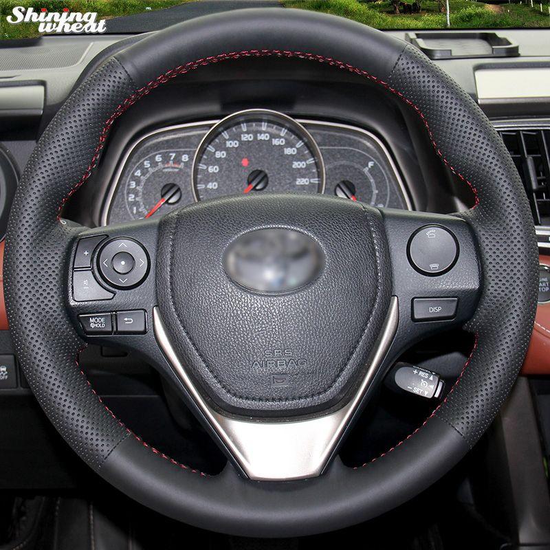 Brillant blé cousu Main En Cuir Noir Volant pour Toyota RAV4 2013 2014 Toyota Corolla Voiture