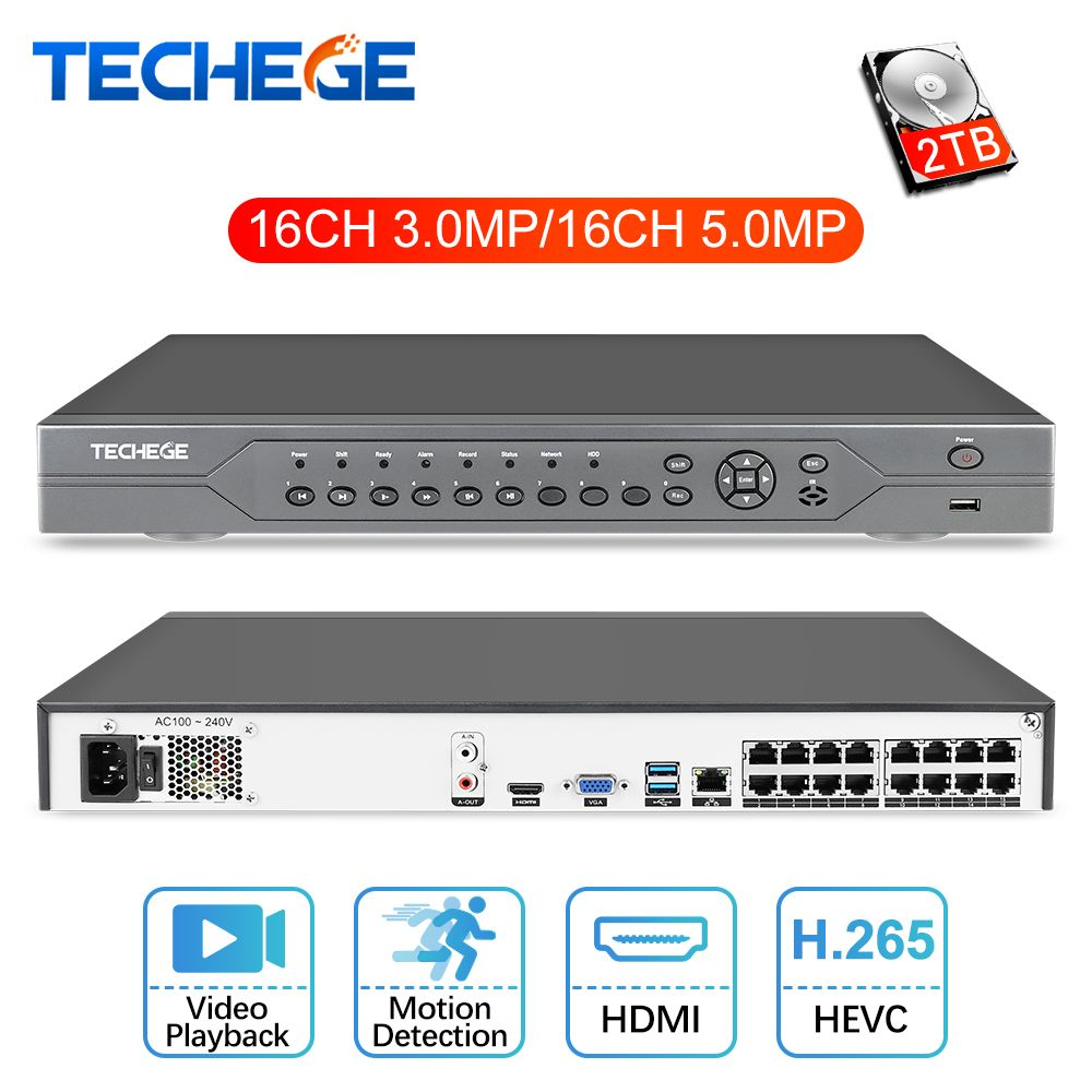 Techege 16CH 5MP POE NVR 48V Real PoE NVR 5MP 3MP 4K Network Video Recorder for PoE IP Cameras P2P XMeye CCTV System Onvif FTP
