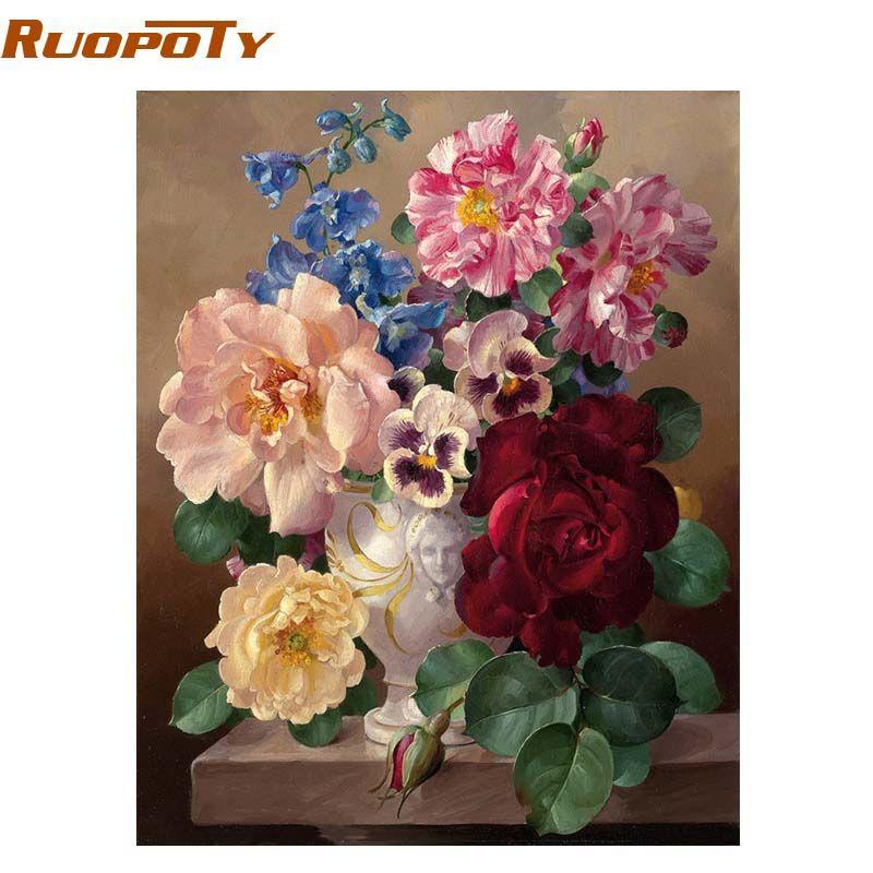 RUOPOTY cadre magique fleur peinture à la main par numéros mur Art abstrait peinture à l'huile peint à la main toile photo pour la décoration intérieure