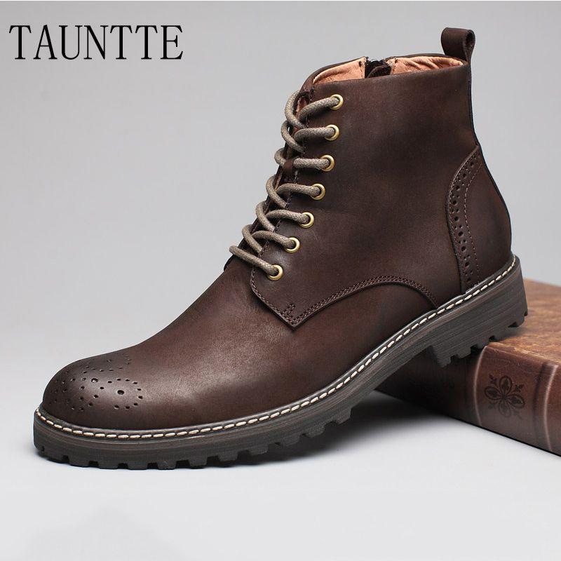 Tauntte зима Ботильоны из телячьей кожи Для мужчин ретро bullock Вырезка цветок ботинки Martin