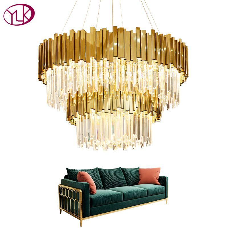 Youlaike Luxus Moderne Kristall Kronleuchter Doppel Schichten Gold Hängenden Leuchten Wohnzimmer Foyer LED Lüster De Cristal