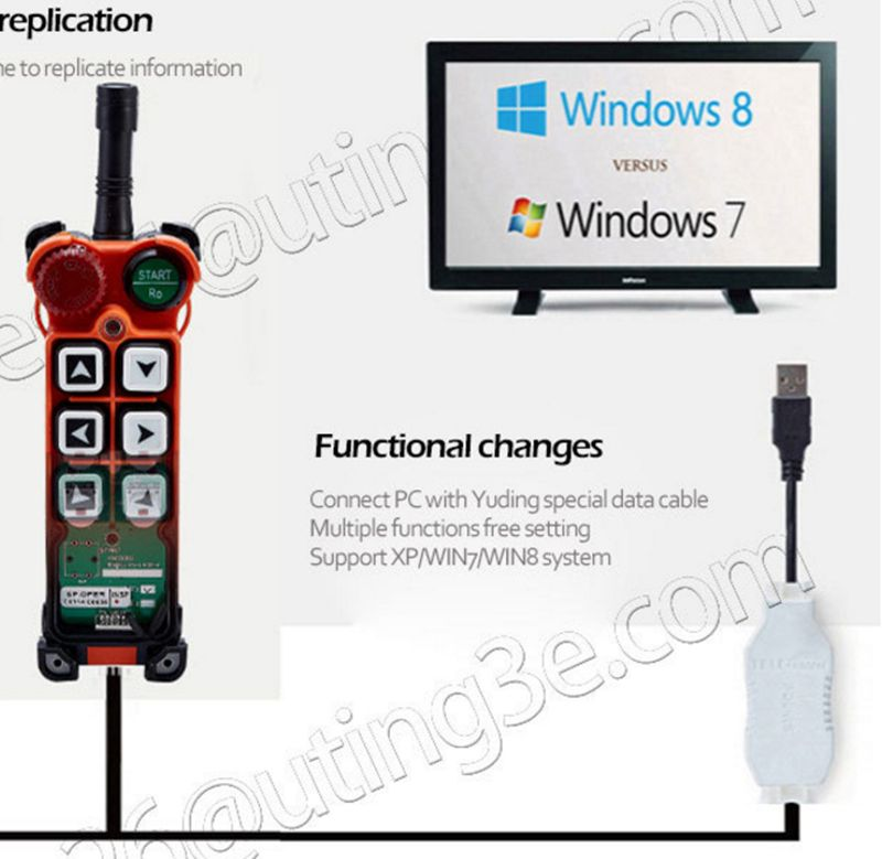 Uting Telecontrol software and program cable transmitter to change function for transmitter and receiver