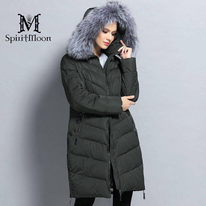 SpiritMoon 2017 Women Winter Thick Hooded Coat Bio Down Jacket Female Down Parka With Natural Fur Collar Big Plus Size 5XL 6XL