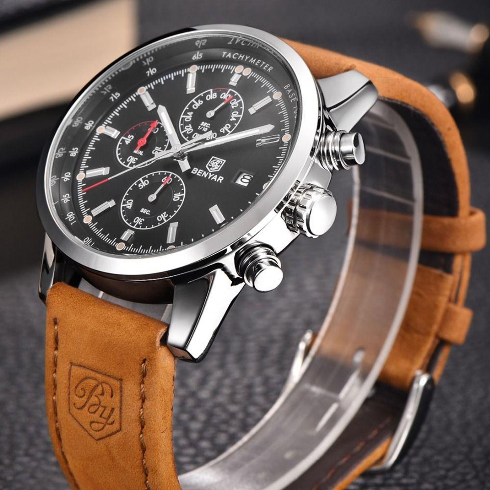 Benyar часы Для мужчин Спорт Для мужчин S Часы лучший бренд класса люкс Военная Униформа кварцевые часы хронограф Водонепроницаемый часы Relogio ...
