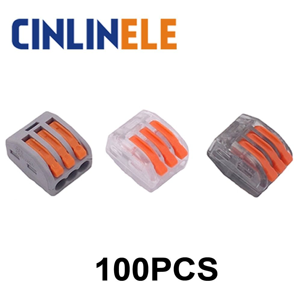 100pcs WAGO mini fast Wire Connector 222-413(PCT213) Universal Compact Wiring Connector 3 pin Conductor Terminal Block