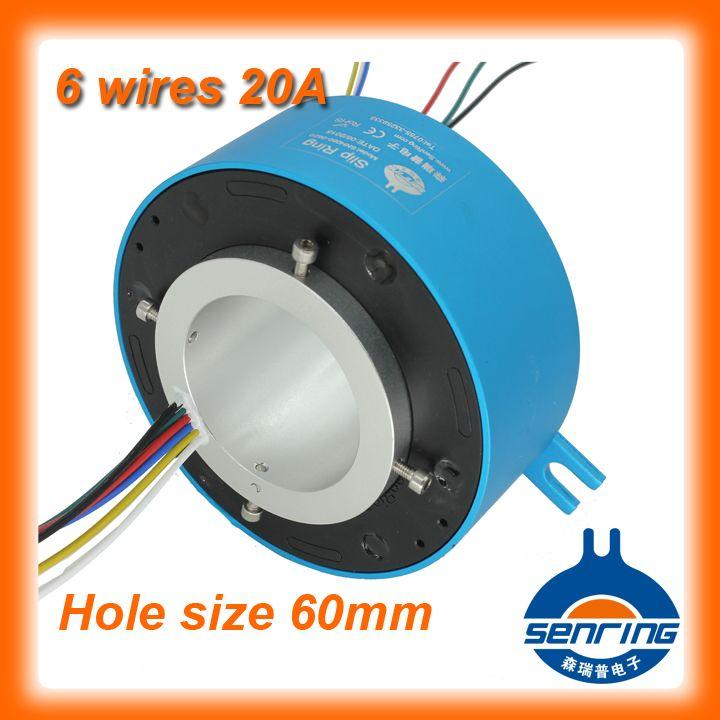 Anillo colector Senring conector de 6 cables/circuitos 20A con el tamaño del agujero de 60mm de diámetro través de anillos colectores