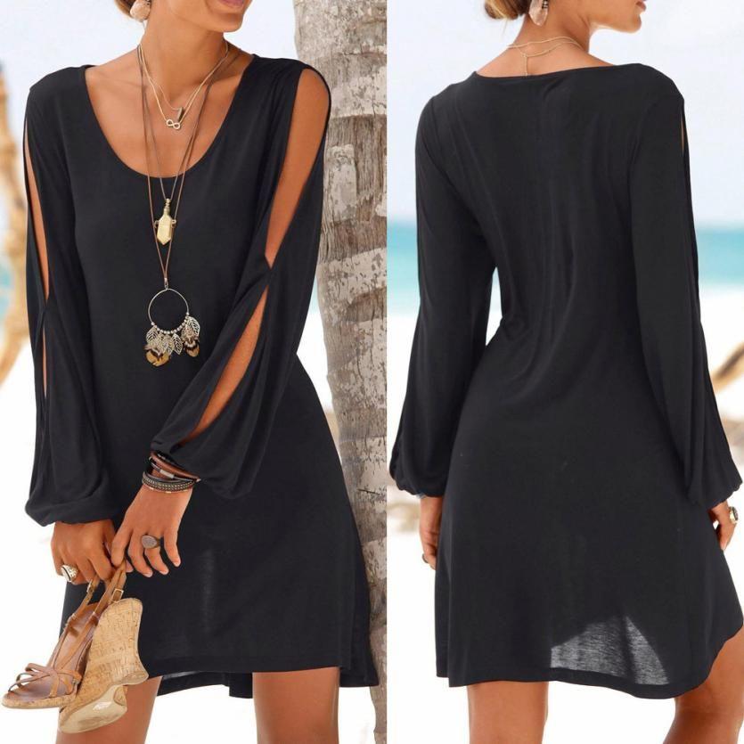 KANCOOLD dress Fashion Women Casual O-Neck Hollow Out Sleeve Straight Dress Solid Beach Style Mini dress women 2018jul20