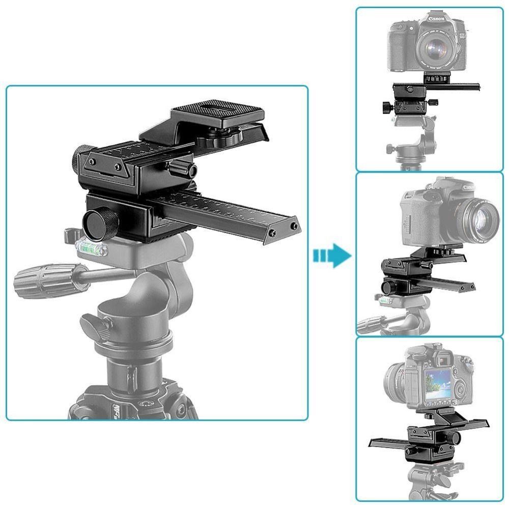 Neewer 4 Way Macro mise au Point Mise Au Point Glissière/Close-up de Tir pour Canon/Nikon etc Appareil Photo REFLEX + DC avec la Norme de 1/4
