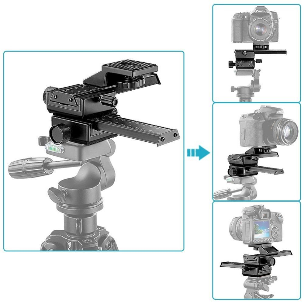 Neewer 4 voies Macro mise au point Rail curseur/gros plan de prise de vue pour Canon/Nikon etc appareil photo reflex + DC avec trou de vis Standard 1/4