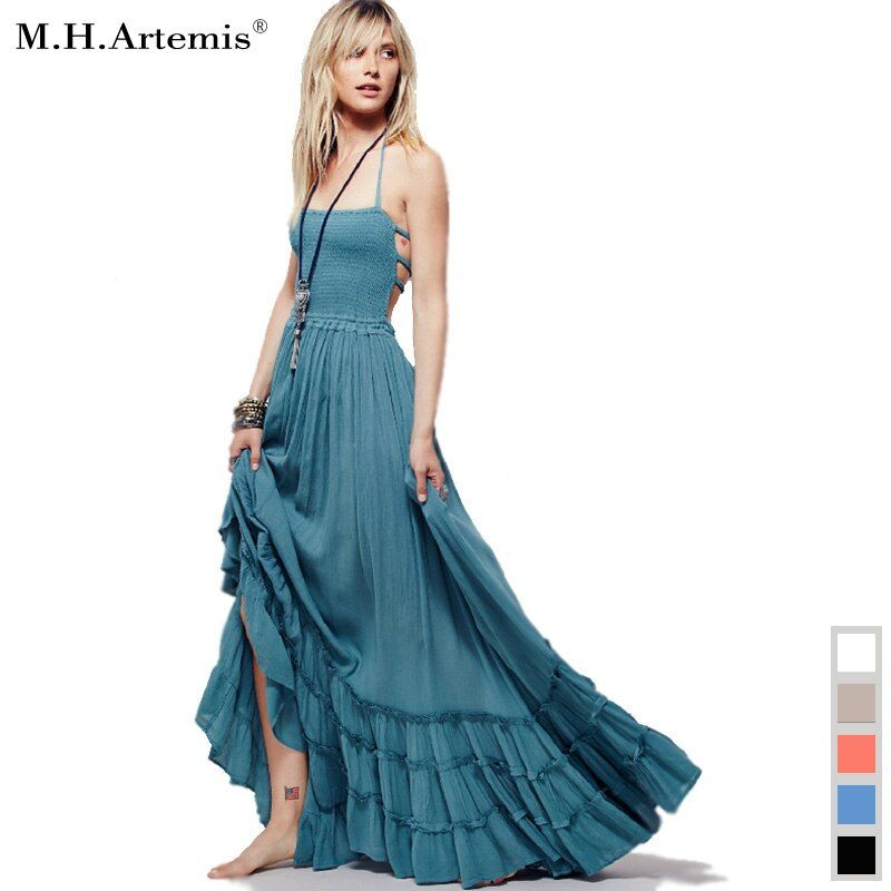2017 Beach dress sexy dresses boho bohemian people Holiday summer long backless cotton women party hippie chic vestidos <font><b>mujer</b></font>