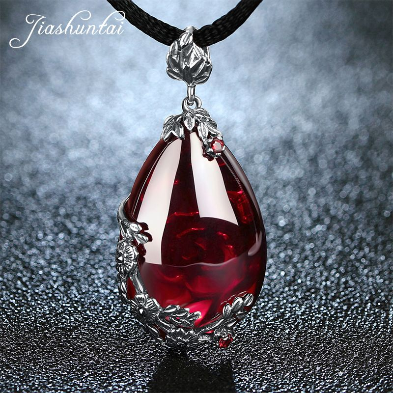JIASHUNTAI Retro 100% 925 Silver Sterling Royal Natural <font><b>Stones</b></font> Pendant Necklace Jewelry For Women Vintage