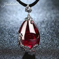 JIASHUNTAI Retro 100% de Plata de Ley 925 real Natural piedras colgante collar de la joyería para las mujeres Vintage