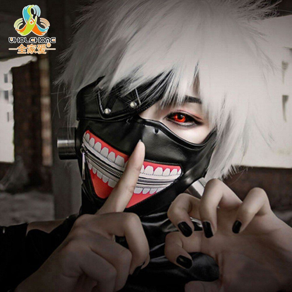 Liquidation de haute Qualité Tokyo Ghoul 2 Kaneki Ken Masque Réglable Zipper Masques PU En Cuir Cool Masque Blinder Anime Cosplay