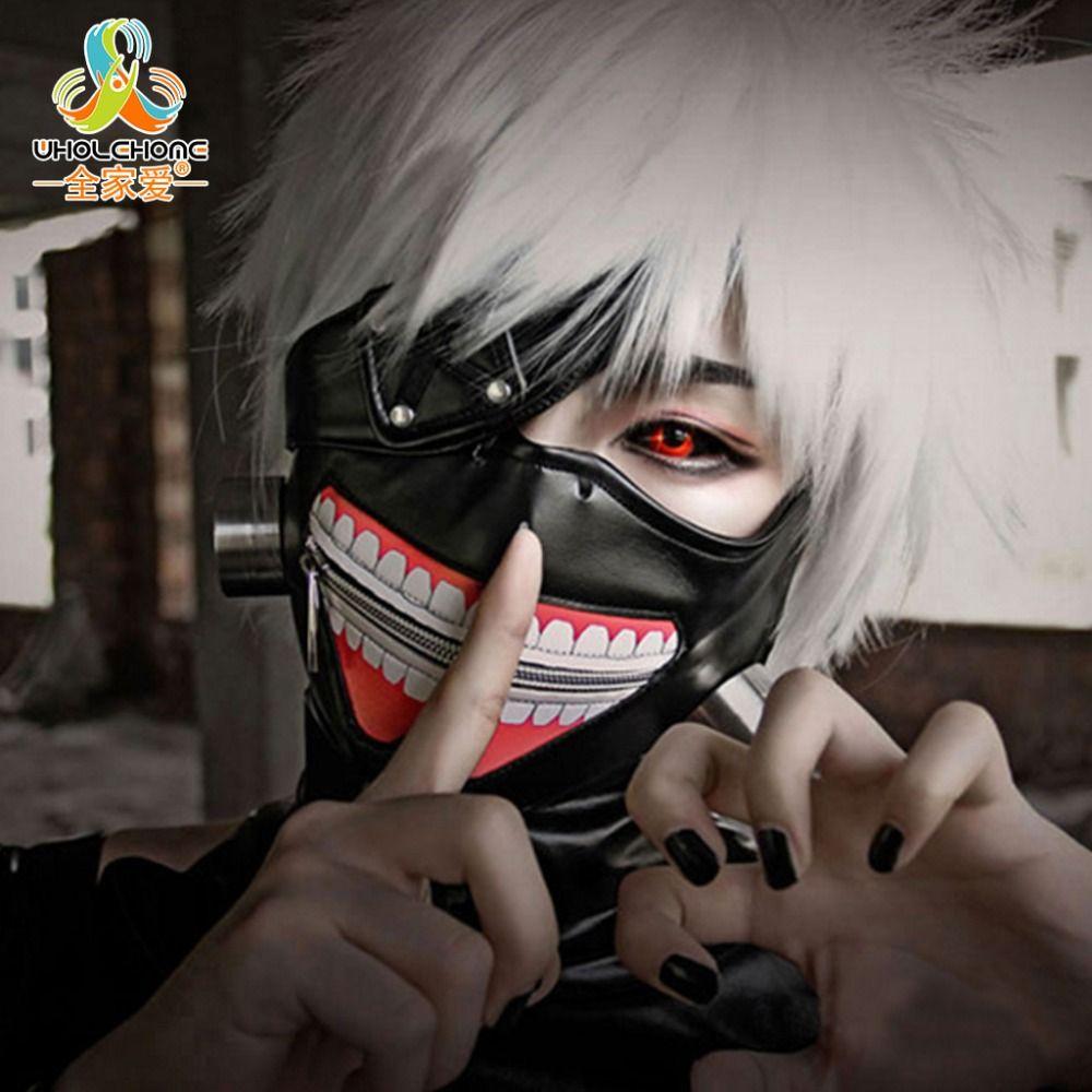 Liquidation de haute Qualité Tokyo Ghoul 2 Kaneki Ken Masque Réglable Zipper Masques PU En Cuir Cool Masque Blinder Anime Cosplay