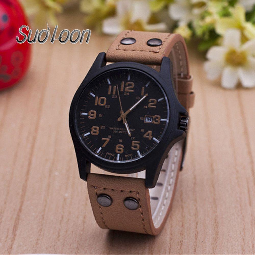 2018 hombres reloj marca de lujo de moda masculina reloj de pulsera impermeable reloj deportivo ocasional copia del zurriago cuero de cuarzo negocio Relojes