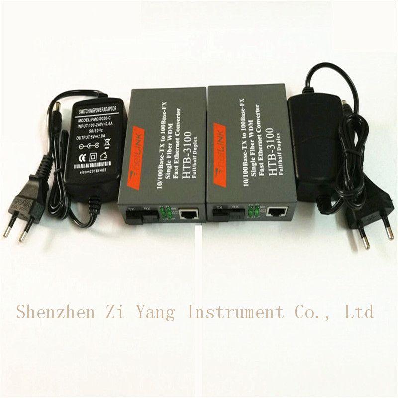 5 paire Htb-3100ab Convertisseur de Média Fiber Optique Émetteur-Récepteur De Fiber Simple Convertisseur De Fiber 25 km SC 10/100 m Monomode fiber unique