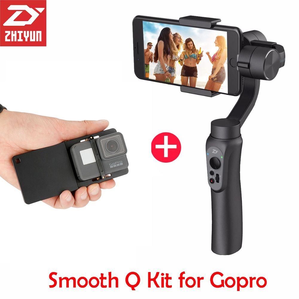 Zhiyun-tech zhiyun lisse Q 3 Axes Cardan Steadicam Stabilisateur pour iPhone X 8 Gopro Hero 5 SJCAM SJ7 Xiaomi Yi 4 k d'action caméra