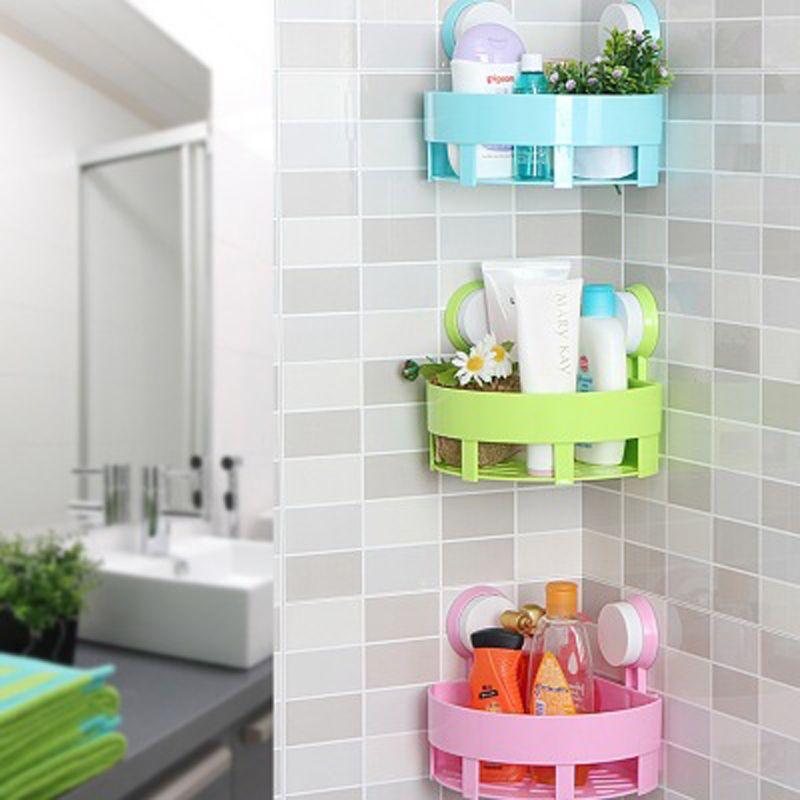 1 PC Creative salle de bains coin stockage Rack organisateur douche étagère murale avec Double forte ventouse sous vide livraison gratuite