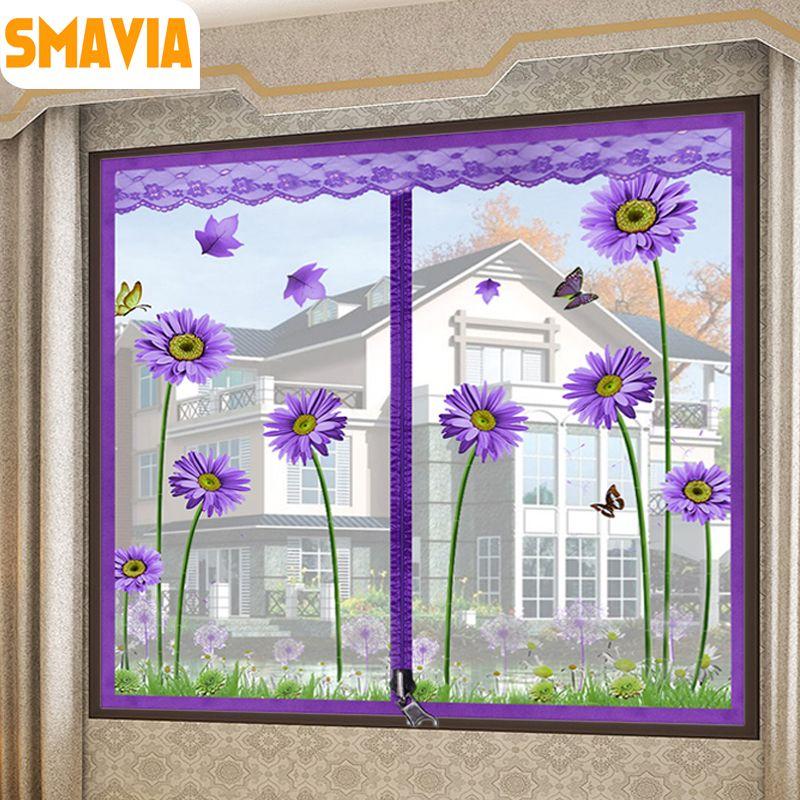 SMAVIA Ziemlich Anti-moskitofenster Bildschirm Polyester-faser Verschlüsselung Moskitonetz mit der Reißverschluss Design einfach Zu Installieren 1 stück