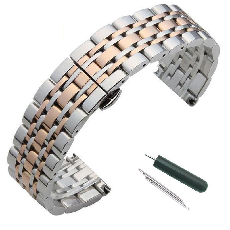 Bracelet de montre en acier inoxydable métal Bracelet 16mm 18mm 20mm 22mm remplacement papillon fermoir Bracelet hommes femmes noir Rose or