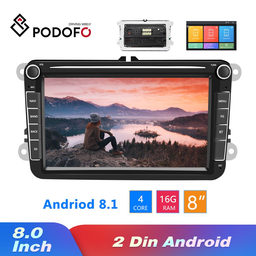 Podofo Android 8.1 2Din voiture MP5 lecteur vidéo multimédia GPS autoradio Auto Radio stéréo 8''Audio pour Seat/Skoda/Passat/Golf/Polo