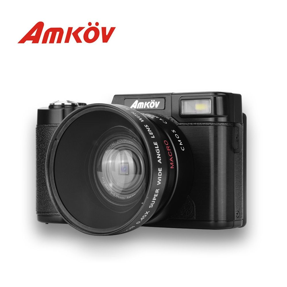 AMKOV CD-R2 CDR2 Digitalkamera Video Camcorder mit 3 zoll Tft-bildschirm UV Filter 0.45X Super Weitwinkelobjektiv Foto kameras
