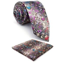 Floral Pattern Multicolor Mens Tie Set Silk New s Wedding Extra Long Slim