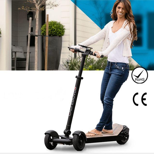 Falten Elektrische Roller 3 Räder E Bord Off Road Longboard Skateboard Elektro-scooter Mit Griff Für Erwachsene