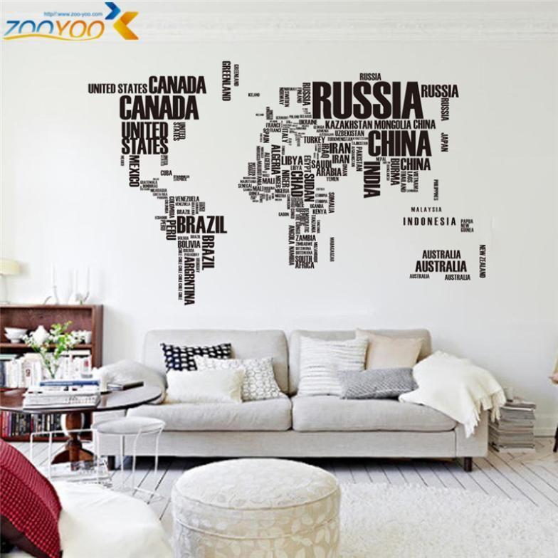 Creative lettres carte du monde mur stikers accueil décorations bureau salon zooyoo95ab adesivo de parede pvc stickers mural art