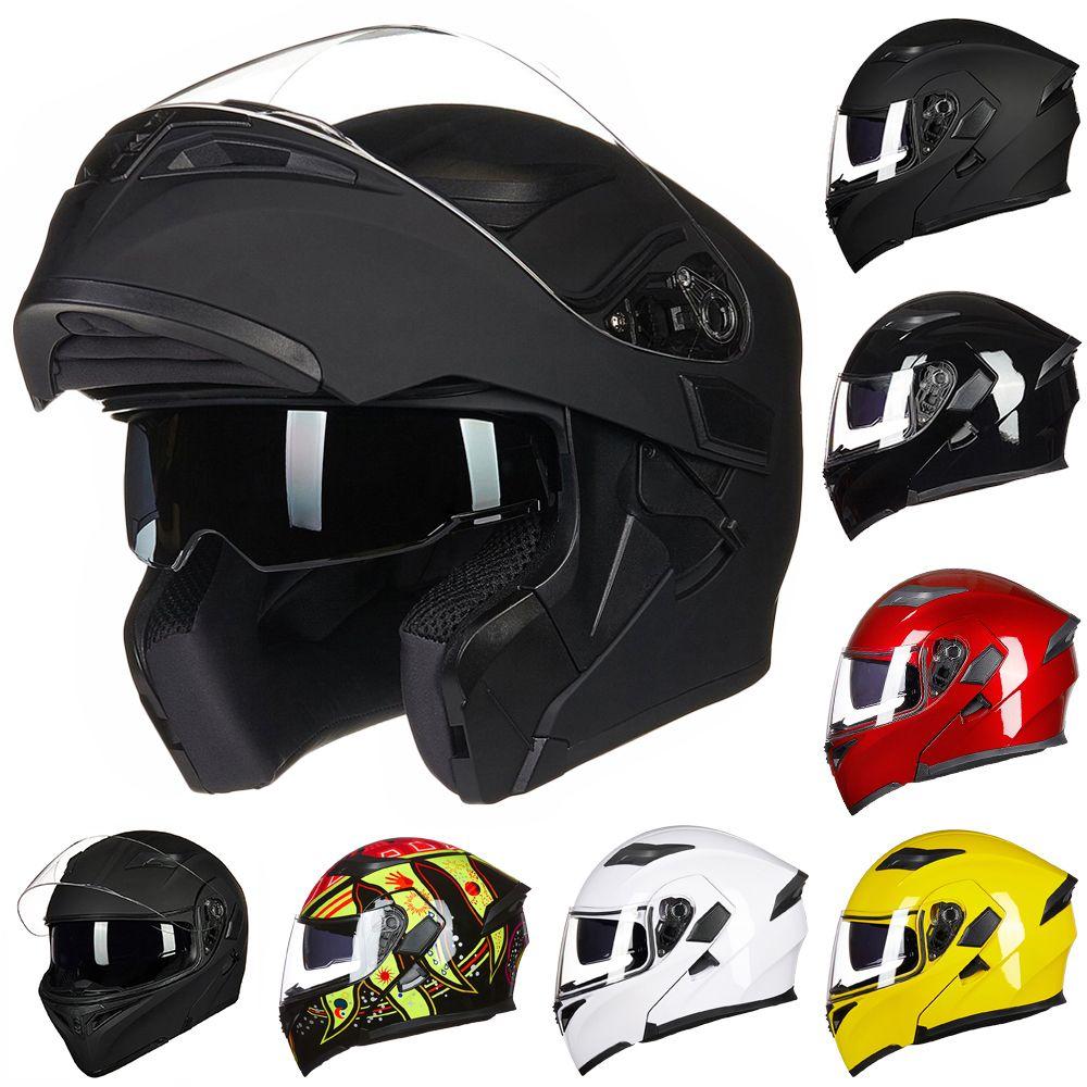 ILM Dual Visor Flip Up Motorcycle Helmet with Removable& Washable Cheek Pad Racing Aerodynamic Design Modular Casco Capacete DOT