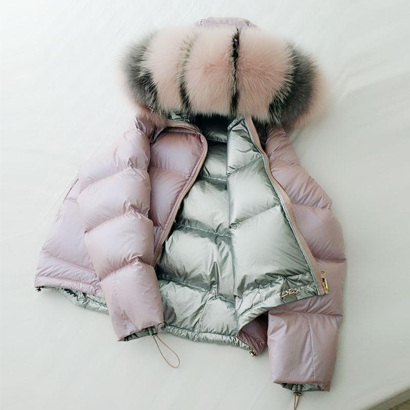 Sowohl Seite Trägt Plus Größe Blase Mantel Frauen Weiße Ente Unten mit Echtpelz Mit Kapuze Kragen Solide Silber Frauen Kleidung 2018