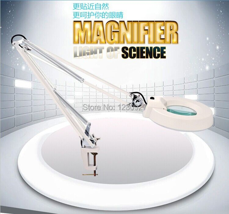 Free ship LED long arm lights on/off switch plastic clip-on foldable magnifier table lamp with 10X Optical magnifying glass lens