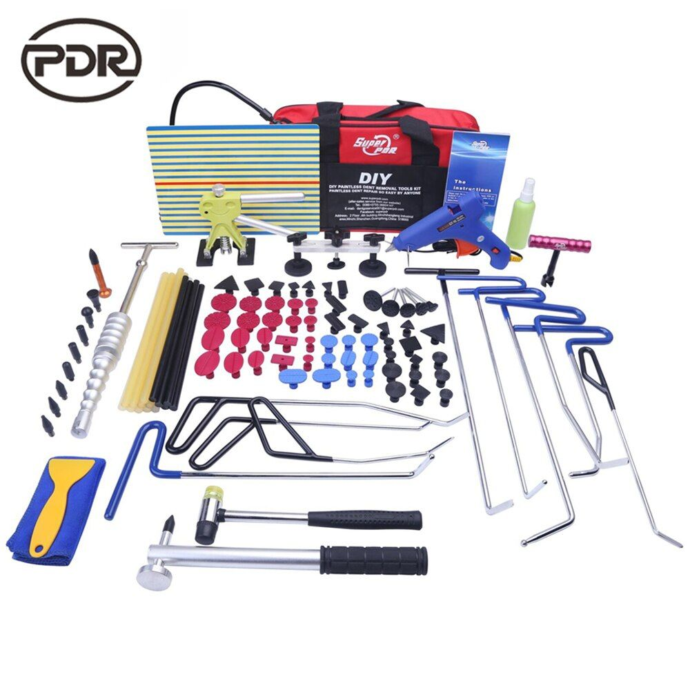 PDR Rods Hooks Tools Car Body Repair Kit Auto Repair Tool Set Door Ding Dent Hail Removal Suction Cups Glue Hammer High Quality