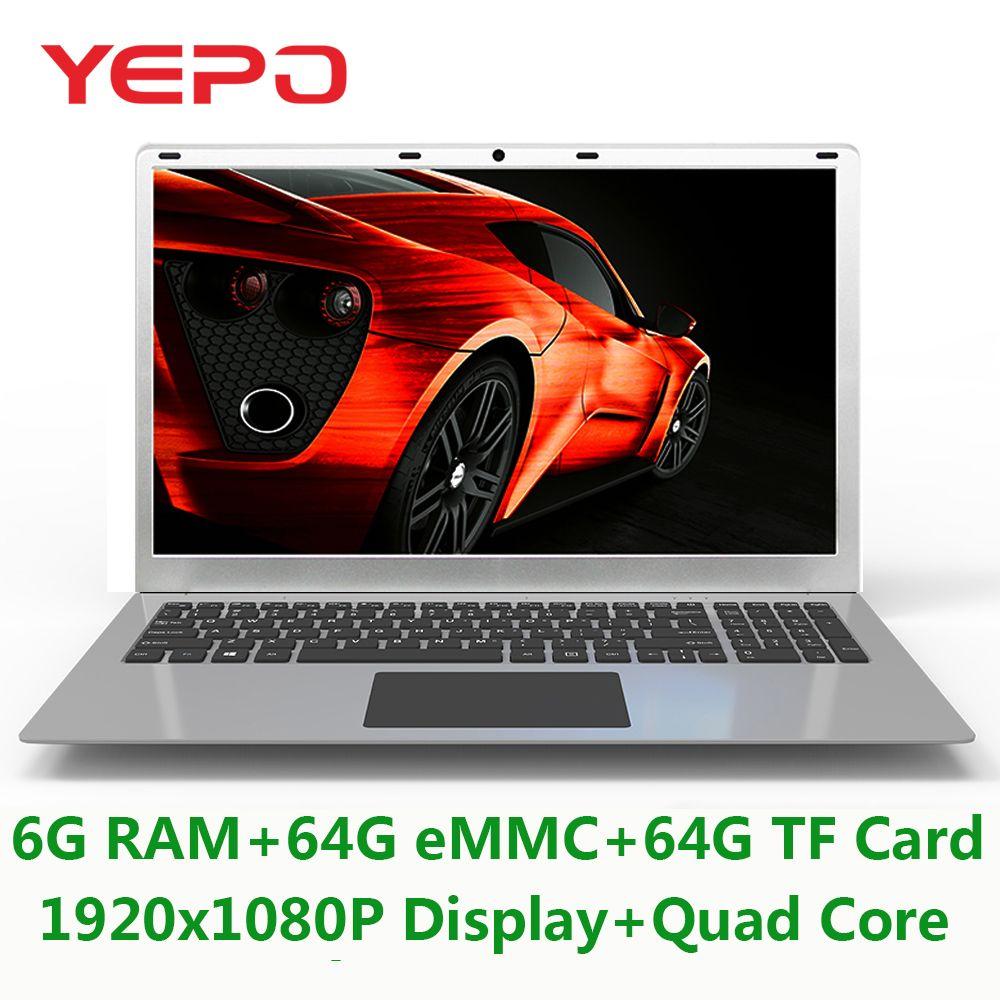 Yepo Laptop 15,6 ''Mit 1920x1080 p Display Intel Quad Core Notebook Mit 6g RAM 64g eMMC Und 64g TF Karte ROM Ultrabook Für Spiel