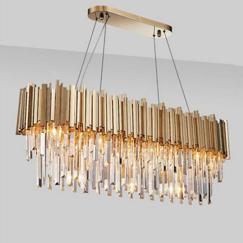 Manggic Moderne Kristall Lampe Kronleuchter Für Wohnzimmer Oval Luxus Gold Runde Edelstahl Linie Kronleuchter Beleuchtung